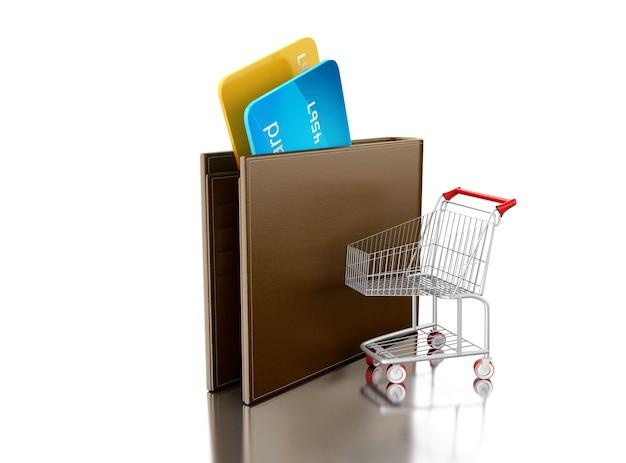 3d ilustracja. karty kredytowe w skórzanym portfelu