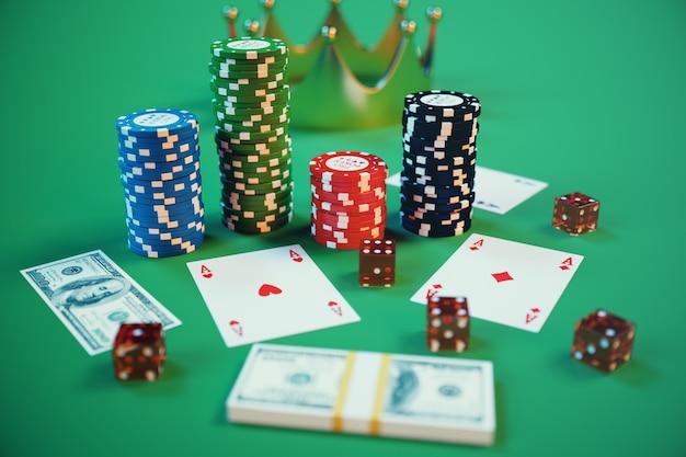 3d ilustracja kasyno. żetony, karty do gry w pokera. żetony do pokera, czerwone kości i pieniądze na zielonym stole. koncepcja kasyna online.