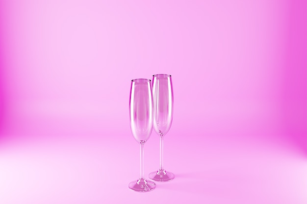 3d ilustracją kieliszki do szampana na różowej powierzchni.