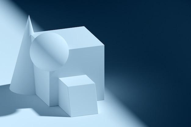3d ilustracja klasyczna martwa natura z czarno-białymi geometrycznymi kształtami z cieniem: równoległościan, sześcian, stożek, piłka