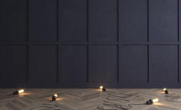 3d ilustracja klasyczna ściana ciemnych drewnianych paneli z żarówkami na podłodze
