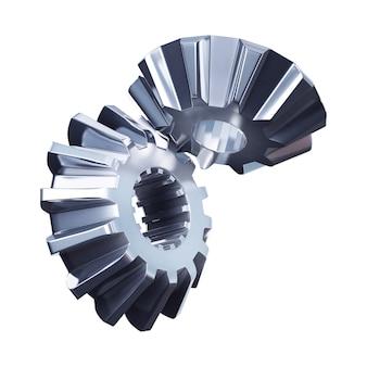 3d ilustracja koła zębate metalowe z bliska