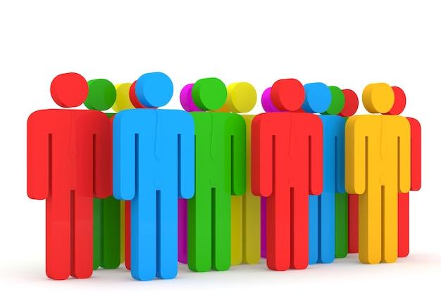 3d ilustracja kolorowych ludzi
