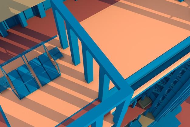 3d ilustracja kolumna i konstrukcja belki
