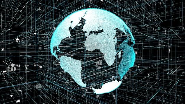 3d ilustracja koncepcji globalnej sieci internetowej