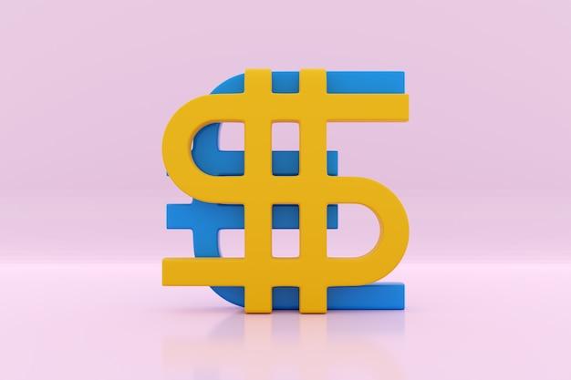 3d ilustracja kształtu pieniędzy euro i dolara na różowo na białym tle. symbol wymiany walut, rosnące ceny. konwertuj dolara na euro iz powrotem.
