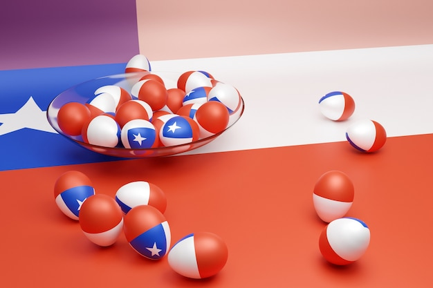 3d ilustracja kulek z wizerunkiem flagi narodowej chile