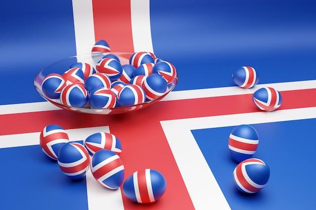 3d ilustracja kulek z wizerunkiem flagi narodowej islandii