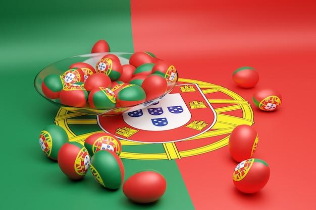 3d ilustracja kulek z wizerunkiem flagi narodowej portugalii
