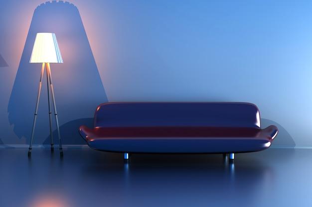 3d ilustracja lampy i fioletową kanapę w ciemnym pokoju.