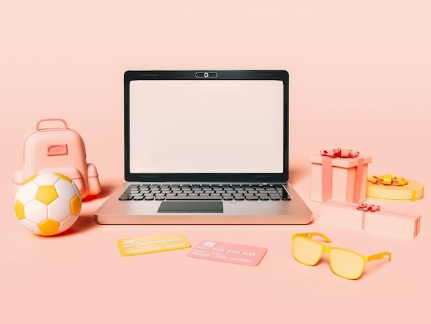 3d ilustracja laptopa z kartami kredytowymi i pudełka na prezenty