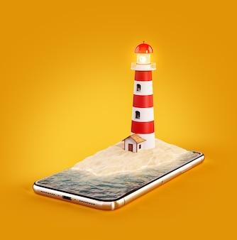 3d ilustracja latarni morskiej na ekranie smartfona
