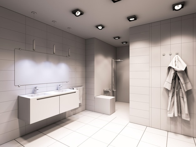 3d ilustracja łazienki bez koloru i tekstur