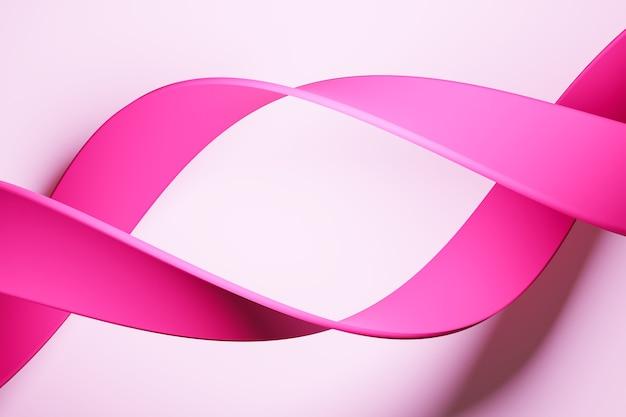 3d ilustracja leci różową wstążką, stereofoniczne paski w różnych kolorach.