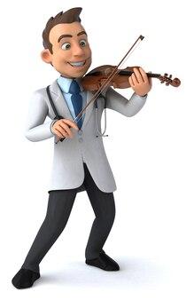 3d ilustracja lekarza grającego na skrzypcach