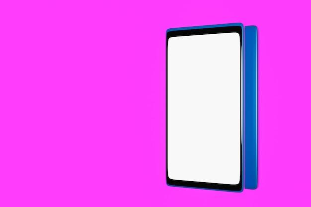 3d ilustracja makiety nowoczesnego smartfona na białym ekranie na różowym tle na białym tle.