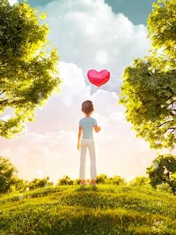 3d ilustracja młodego chłopca toon stojącego w parku z balonem w kształcie serca