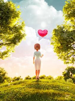 3d ilustracja młodej dziewczyny toon stojącej w parku z balonem w kształcie serca