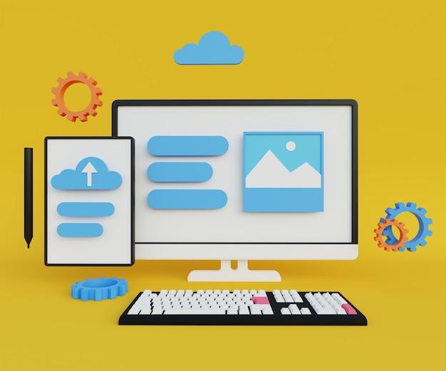 3d ilustracja monitora, tabletu i klawiatury na żółtym tle