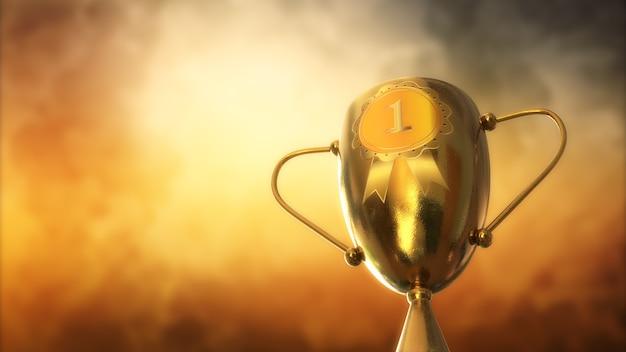 3d ilustracja nagroda, trofeum na białym tle na pomarańczowym tle