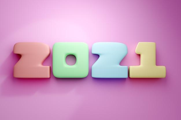 3d ilustracja napis 2021 z małych kolorowych kwadratów na tle piksela