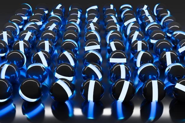 3d ilustracja neonowych czarnych kulek