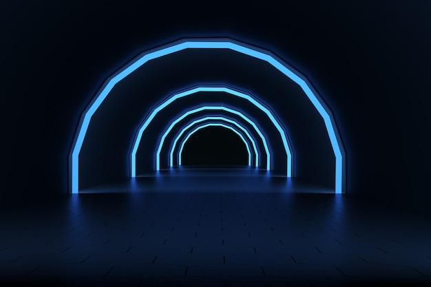 3d ilustracja niebieskich neonowych świecących łuków na ciemnym tle. świecące ultrafioletowe, okrągłe łuki. grafika 3d