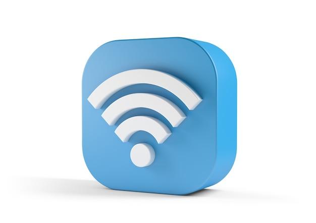3d ilustracją niebieskiej ikony wi-fi na białym tle