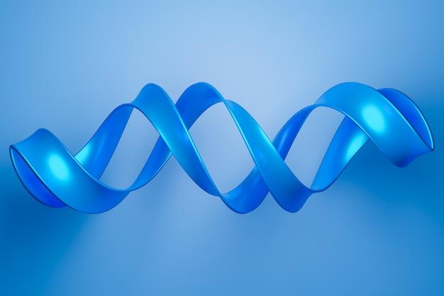3d ilustracja niebieskiej wstążki leci, stereofoniczne paski w różnych kolorach.