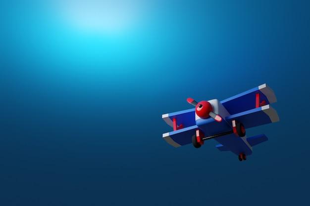 3d ilustracją niebiesko-czerwonego samolotu w stylu kreskówki