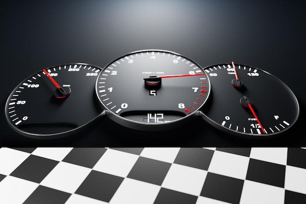 3d ilustracja nowe szczegóły wnętrza samochodu. prędkościomierz pokazuje 142 km h, obrotomierz