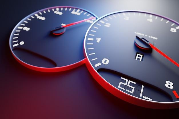 3d ilustracja nowe szczegóły wnętrza samochodu. prędkościomierz pokazuje 251 km h, obrotomierz