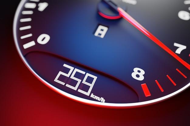 3d ilustracja nowych szczegółów wnętrza samochodu. prędkościomierz pokazuje maksymalną prędkość 259 km h