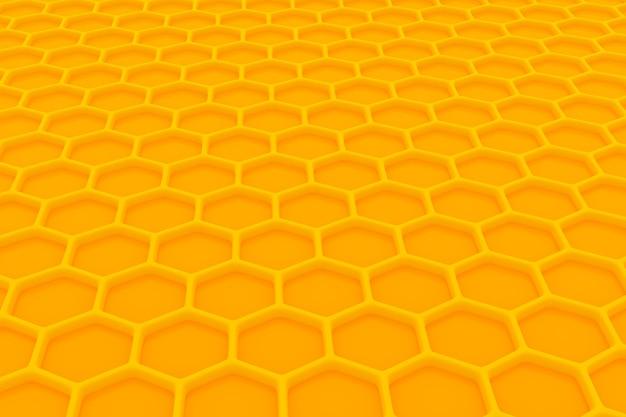 3d ilustracja o strukturze plastra miodu monochromatyczne żółty plaster miodu na miód. wzór prostych geometrycznych kształtów sześciokątnych, tło mozaiki. koncepcja plastra miodu pszczoła, ul
