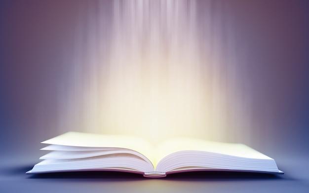 3d ilustracja otwartej książki z magicznym światłem