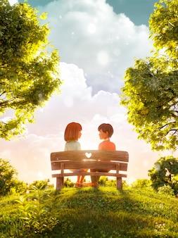 3d ilustracja para zakochanych, patrząc na siebie, siedząc na ławce w parku