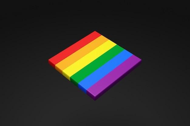 3d ilustracja pasków flagi społeczności lgbt na czarnym tle.