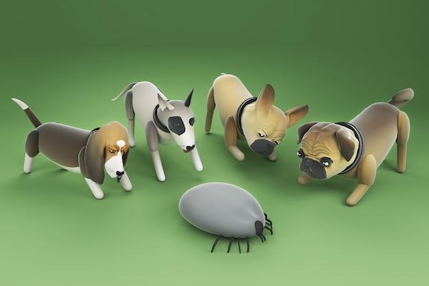 3d ilustracja pies szuka dużego kleszcza