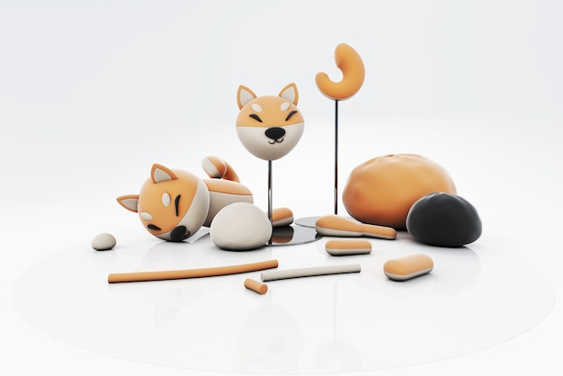 3d ilustracja plasteliny psa shiba