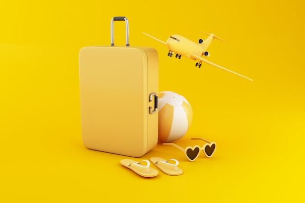 3d ilustracja. podróżuj walizkę, piłkę plażową, klapki i okulary przeciwsłoneczne, na żółtym tle.