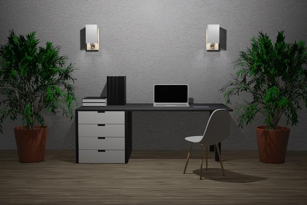 3d ilustracja pracujący pokój