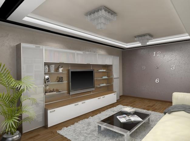 3d ilustracja projektu salonu w odcieniach beżu