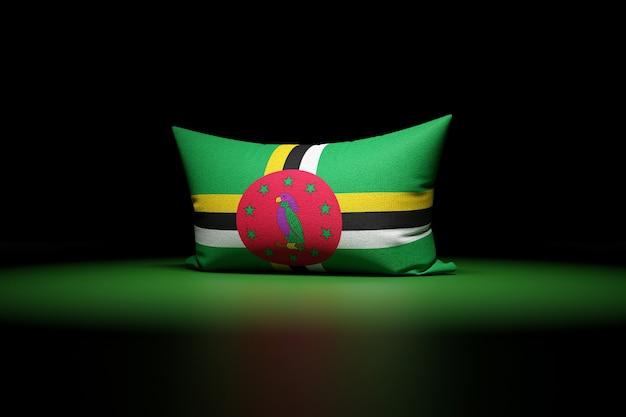 3d ilustracja prostokątnej poduszki przedstawiającej flagę narodową dominiki