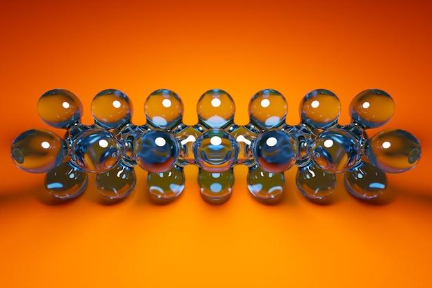 3d ilustracja przezroczystej metaballi z ogromną liczbą części na pomarańczowym tle. cyfrowe metaballowe tło przelatujące na siebie błyszczące kule.