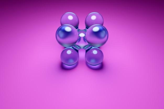3d ilustracja przezroczystej metaballi z ogromną liczbą części na różowym tle. cyfrowe metaballowe tło przelatujące na siebie błyszczące kule.