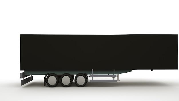 3d ilustracja przyczepy czarny samochód na białym tle. logistyka, transport drogowy, samochód dostawczy.
