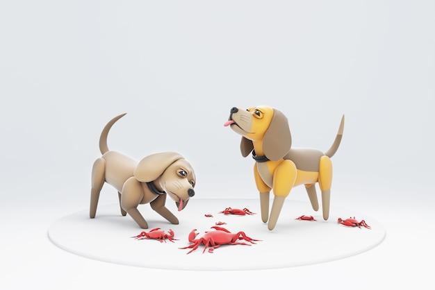 3d ilustracja psa bawiącego się kraba