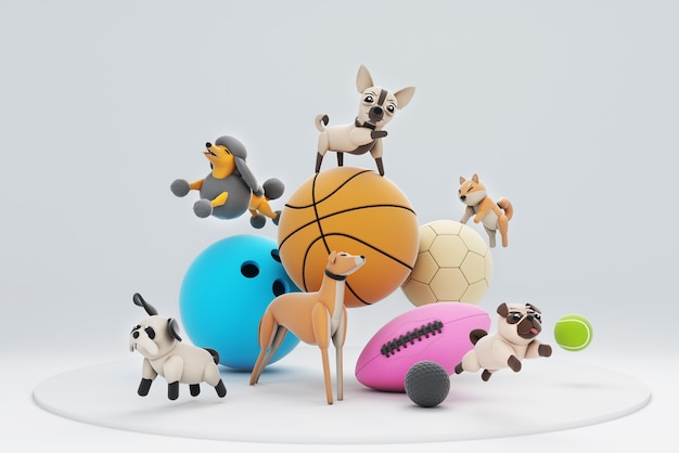 3d ilustracja psów i sportu