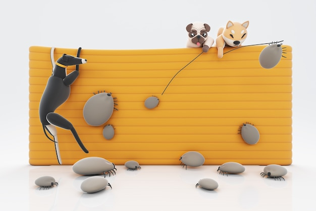 3d ilustracja psów walczących z pchłami