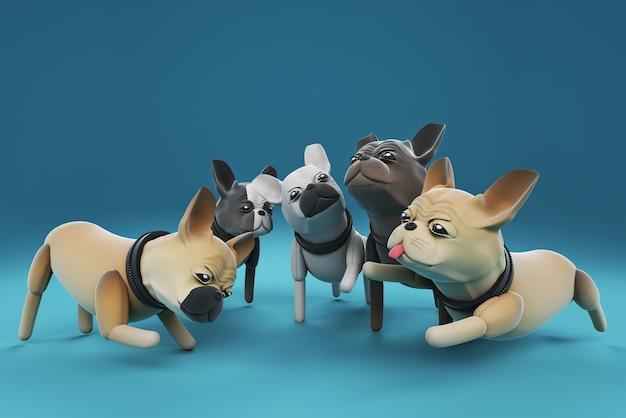 3d ilustracja psy rozmawiają